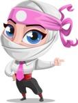 Girl with Ninja Mask Cartoon Vector Character AKA Matsuko - Point 1