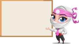 Girl with Ninja Mask Cartoon Vector Character AKA Matsuko - Presentation 2