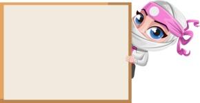 Girl with Ninja Mask Cartoon Vector Character AKA Matsuko - Presentation 4