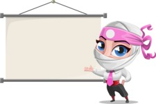 Girl with Ninja Mask Cartoon Vector Character AKA Matsuko - Presentation 6