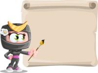 Japan Ninja Girl Cartoon Vector Character AKA Miho - Presentation 7
