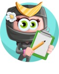 Japan Ninja Girl Cartoon Vector Character AKA Miho - Shape 1