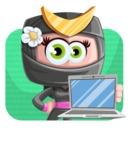 Japan Ninja Girl Cartoon Vector Character AKA Miho - Shape 2