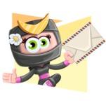 Japan Ninja Girl Cartoon Vector Character AKA Miho - Shape 4