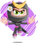Japan Ninja Girl Cartoon Vector Character AKA Miho - Shape 5