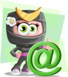 Japan Ninja Girl Cartoon Vector Character AKA Miho - Shape 7