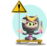 Japan Ninja Girl Cartoon Vector Character AKA Miho - Shape 8