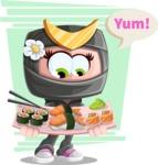 Japan Ninja Girl Cartoon Vector Character AKA Miho - Shape 11