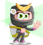 Japan Ninja Girl Cartoon Vector Character AKA Miho - Shape 12