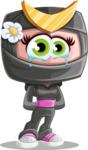 Japan Ninja Girl Cartoon Vector Character AKA Miho - Sad 1