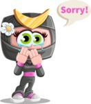 Japan Ninja Girl Cartoon Vector Character AKA Miho - Sad 2