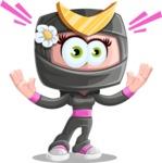 Japan Ninja Girl Cartoon Vector Character AKA Miho - Shocked