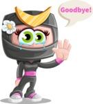 Japan Ninja Girl Cartoon Vector Character AKA Miho - Goodbye