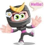 Japan Ninja Girl Cartoon Vector Character AKA Miho - Hello