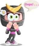 Japan Ninja Girl Cartoon Vector Character AKA Miho - Oops