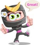 Japan Ninja Girl Cartoon Vector Character AKA Miho - Thumbs Up