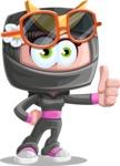 Japan Ninja Girl Cartoon Vector Character AKA Miho - Sunglasses 2