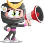 Japan Ninja Girl Cartoon Vector Character AKA Miho - Loudspeaker