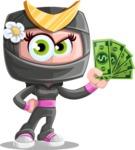 Japan Ninja Girl Cartoon Vector Character AKA Miho - Show me the Money