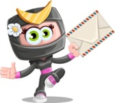 Japan Ninja Girl Cartoon Vector Character AKA Miho - Letter