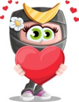 Japan Ninja Girl Cartoon Vector Character AKA Miho - Love