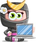 Japan Ninja Girl Cartoon Vector Character AKA Miho - Laptop 1