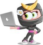 Japan Ninja Girl Cartoon Vector Character AKA Miho - Laptop 2