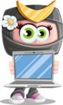 Japan Ninja Girl Cartoon Vector Character AKA Miho - Laptop 3