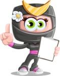 Japan Ninja Girl Cartoon Vector Character AKA Miho - Note 3