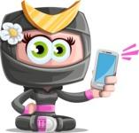 Japan Ninja Girl Cartoon Vector Character AKA Miho - Smartphone2