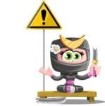 Japan Ninja Girl Cartoon Vector Character AKA Miho - Under Construction 1