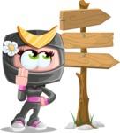 Japan Ninja Girl Cartoon Vector Character AKA Miho - Crossroads