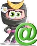 Japan Ninja Girl Cartoon Vector Character AKA Miho - At Symbol