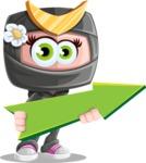 Japan Ninja Girl Cartoon Vector Character AKA Miho - Pointer 1