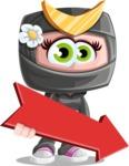 Japan Ninja Girl Cartoon Vector Character AKA Miho - Pointer 2
