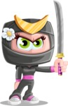 Japan Ninja Girl Cartoon Vector Character AKA Miho - Determination