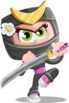 Japan Ninja Girl Cartoon Vector Character AKA Miho - Protect
