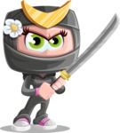 Japan Ninja Girl Cartoon Vector Character AKA Miho - Fight