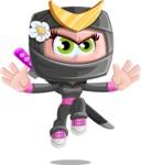 Japan Ninja Girl Cartoon Vector Character AKA Miho - Jump