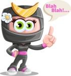 Japan Ninja Girl Cartoon Vector Character AKA Miho - Talking