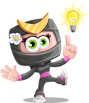 Japan Ninja Girl Cartoon Vector Character AKA Miho - Idea