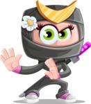 Japan Ninja Girl Cartoon Vector Character AKA Miho - Sneak Attack