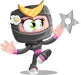 Japan Ninja Girl Cartoon Vector Character AKA Miho - Shuriken Attack