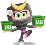 Japan Ninja Girl Cartoon Vector Character AKA Miho - Sale 1