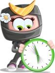 Japan Ninja Girl Cartoon Vector Character AKA Miho - Time is running out