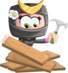 Japan Ninja Girl Cartoon Vector Character AKA Miho - Repair