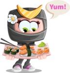 Japan Ninja Girl Cartoon Vector Character AKA Miho - Food 2