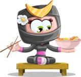 Japan Ninja Girl Cartoon Vector Character AKA Miho - Food 3