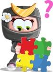 Japan Ninja Girl Cartoon Vector Character AKA Miho - Puzzle