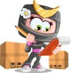 Japan Ninja Girl Cartoon Vector Character AKA Miho - Delivery 2